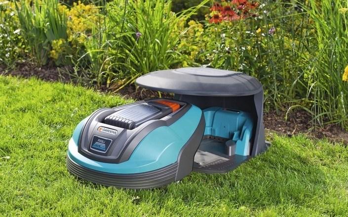 База с навесом и газонокосилка робот gardena r50li
